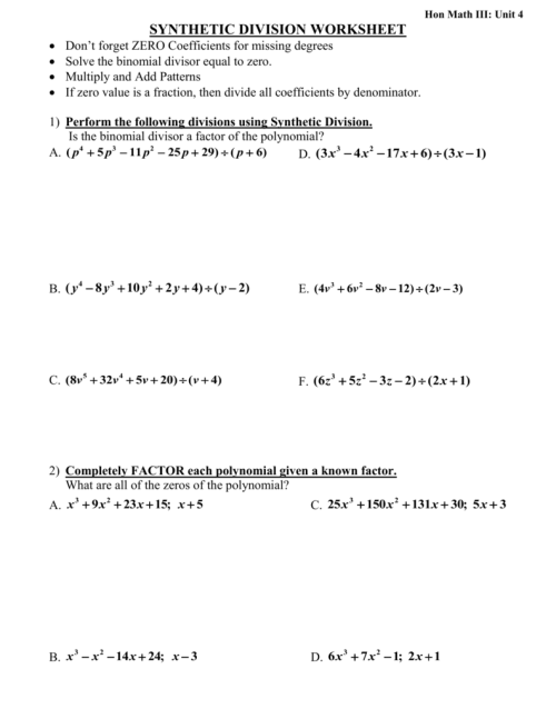 small resolution of 35 Dividing Polynomials Long And Synthetic Division Worksheet Answers -  Worksheet Project List