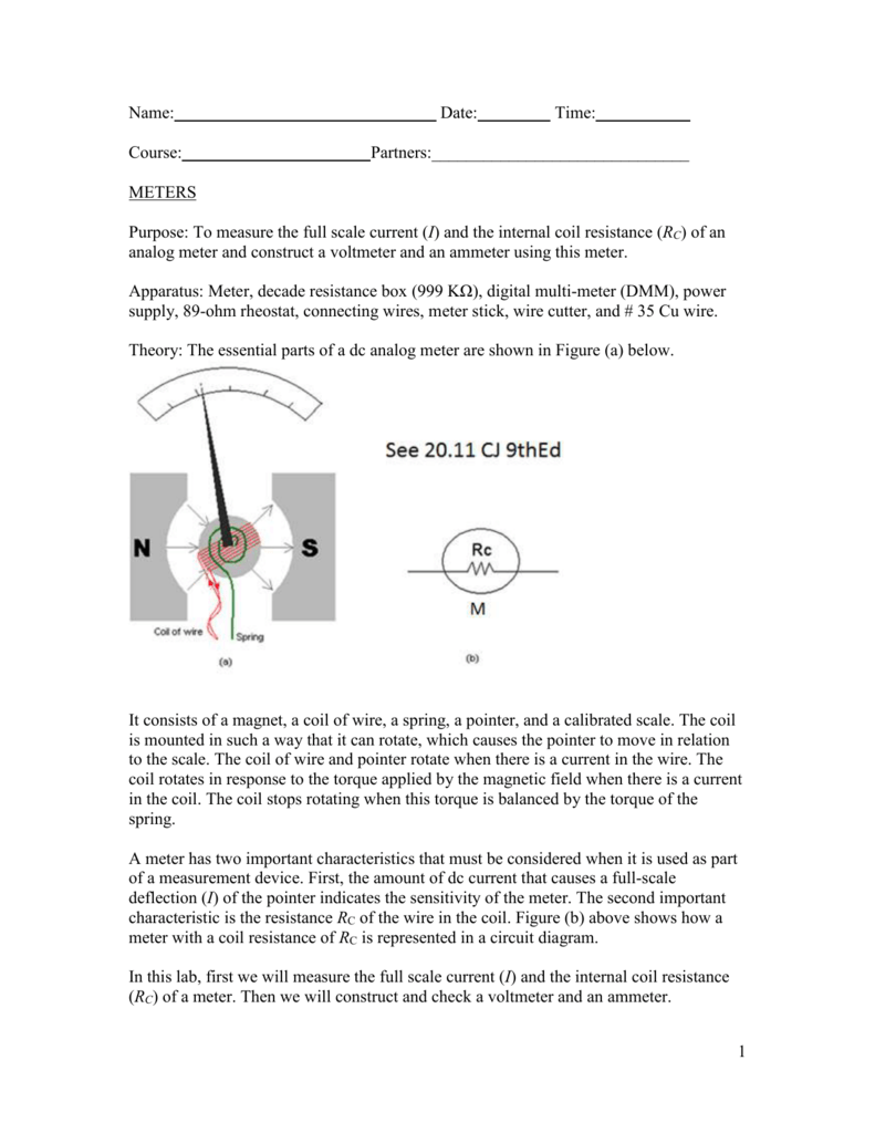 hight resolution of meters purpose to measure the full scale current i and the internal coil resistance rc of an analog meter and construct a voltmeter and an ammeter