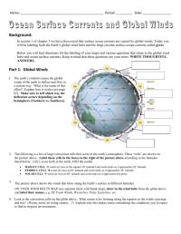Worksheets. Global Winds Worksheet. waytoohuman Free