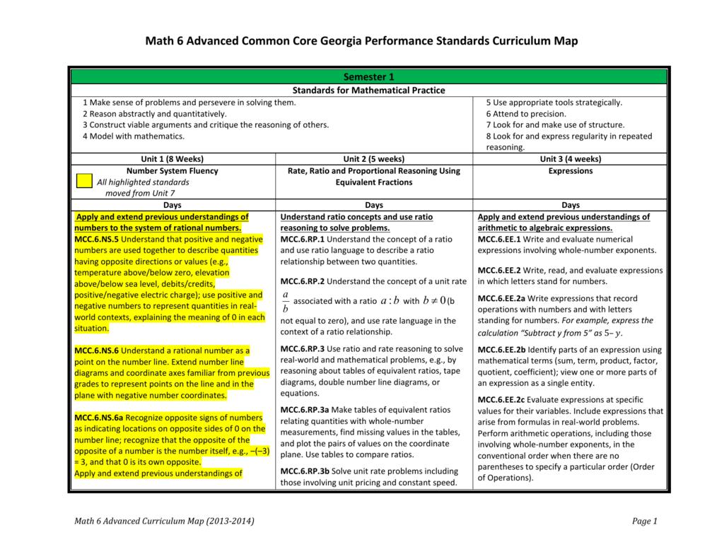 Common Core Georgia Performance Standards Curriculum Map