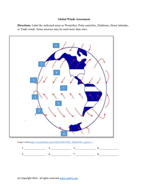 small resolution of global winds assessment directions label the indicated areas as westerlies polar easterlies doldrums horse latitudes or trade winds