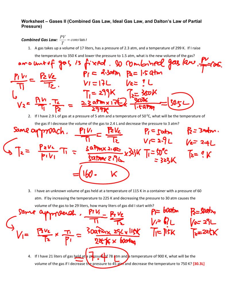 worksheet. Gas Laws Worksheet Answers. Worksheet Fun