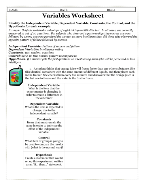 small resolution of Independent Variable And Dependent Variable Worksheet - Worksheet List