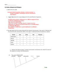 Cladogram Worksheet Answers Worksheets For School - Getadating