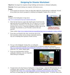 Designing for Disaster Worksheet [ 1024 x 791 Pixel ]