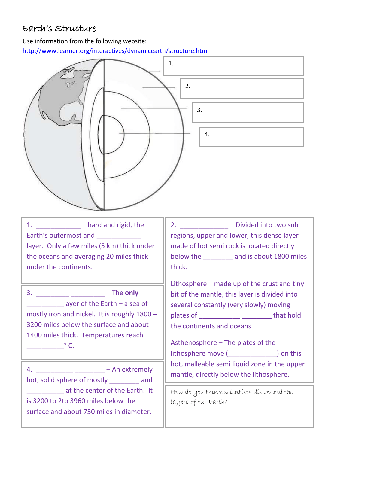 hight resolution of Earth`s Structure Worksheet - MHS-Integrated