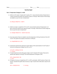 Worksheets. Specific Heat Worksheet With Answers ...