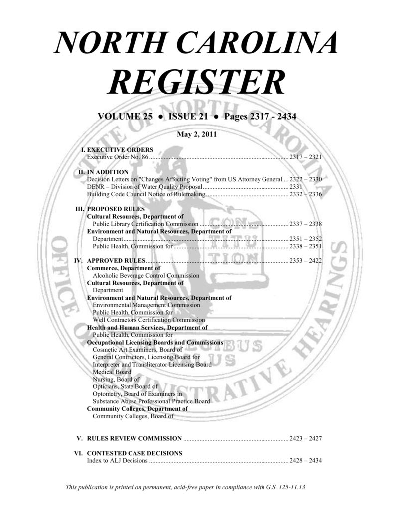 NORTH CAROLINA REGISTER BoilerPlate