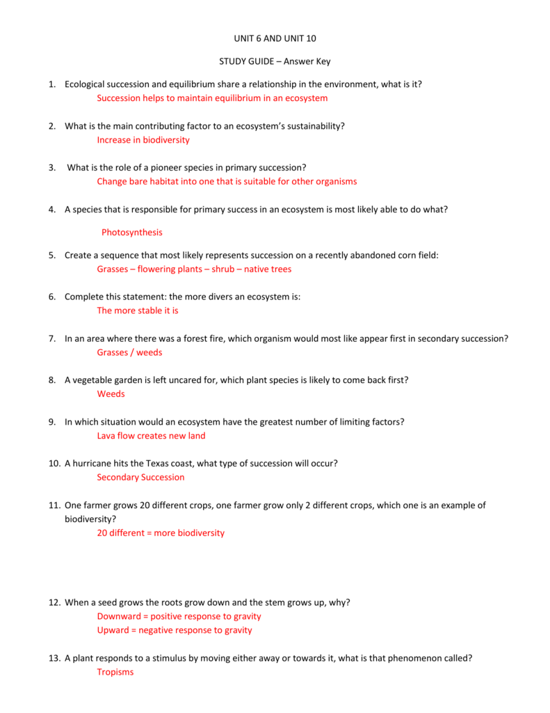 Ecological Succession Worksheet Answer Key : ecological, succession, worksheet, answer, STUDY, GUIDE, Answer, Ecological