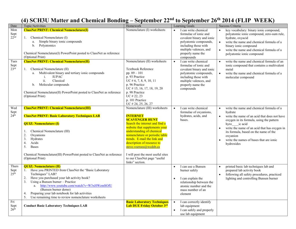 4 Sch3u Sept 22nd To Sept 26th