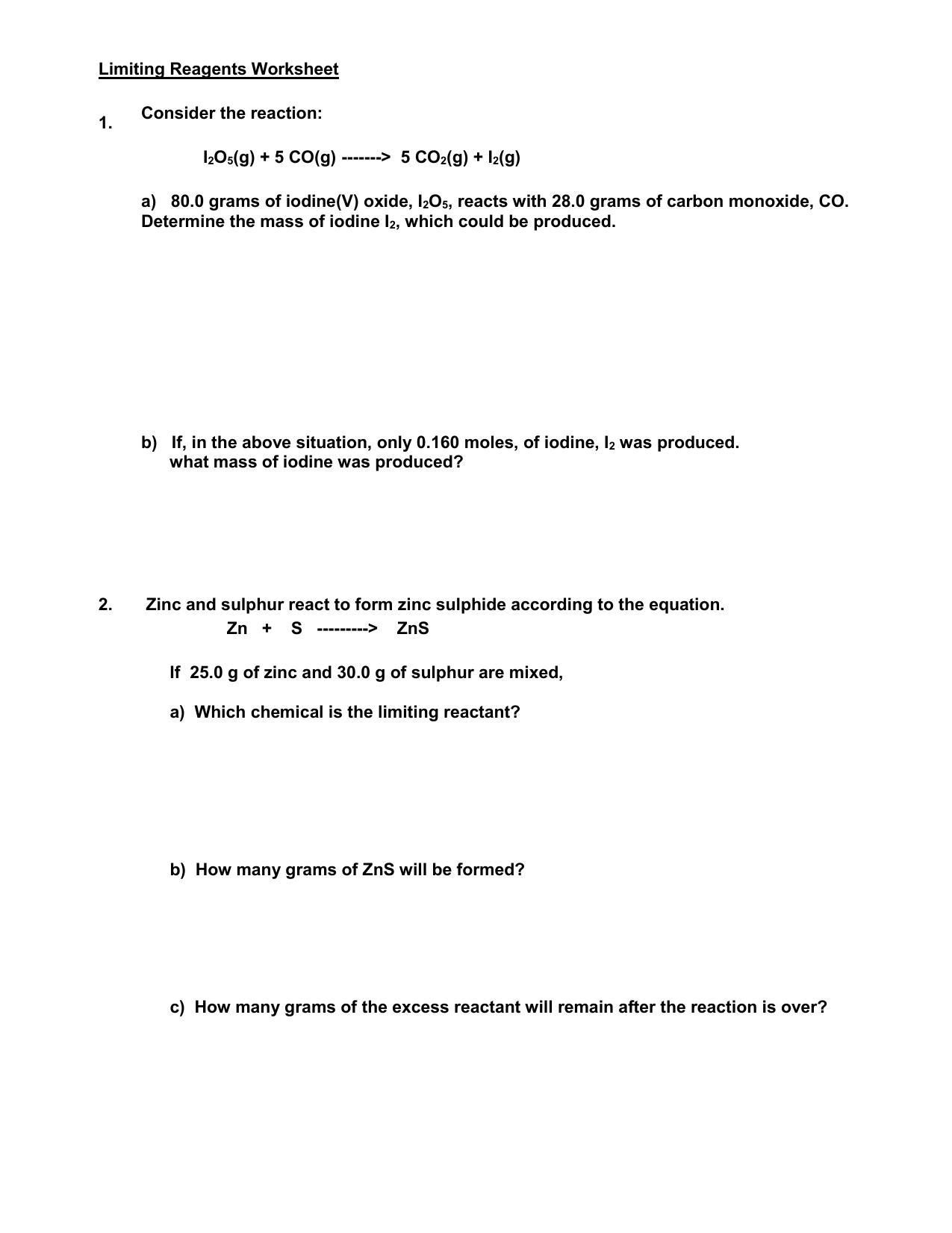 Limiting Reagents Worksheet