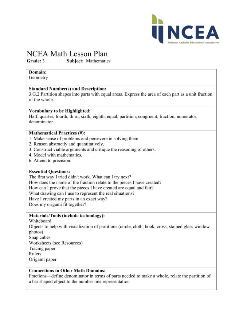 medium resolution of NCEA Math Lesson Plan Grade: 3 Subject: Mathematics Domain