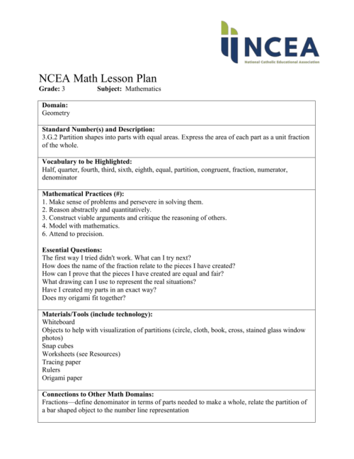 small resolution of NCEA Math Lesson Plan Grade: 3 Subject: Mathematics Domain
