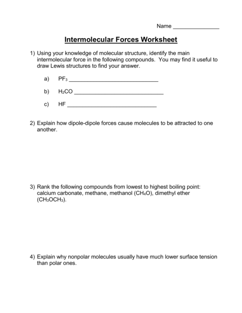 small resolution of intermolecular forces worksheet 1 using your knowledge of molecular structure identify the main intermolecular force in the following compounds