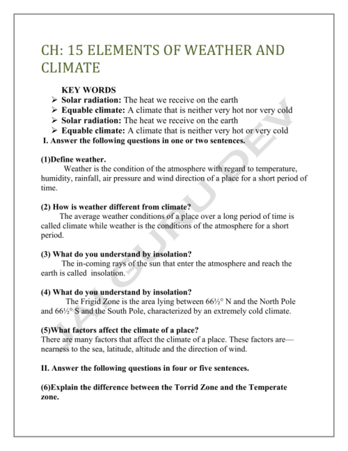 small resolution of class 7 Elements of Weather and Climate