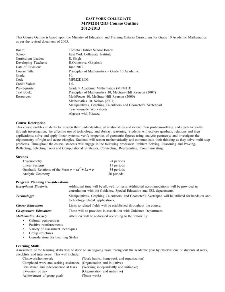 medium resolution of Grade 10 Academic - Toronto District School Board