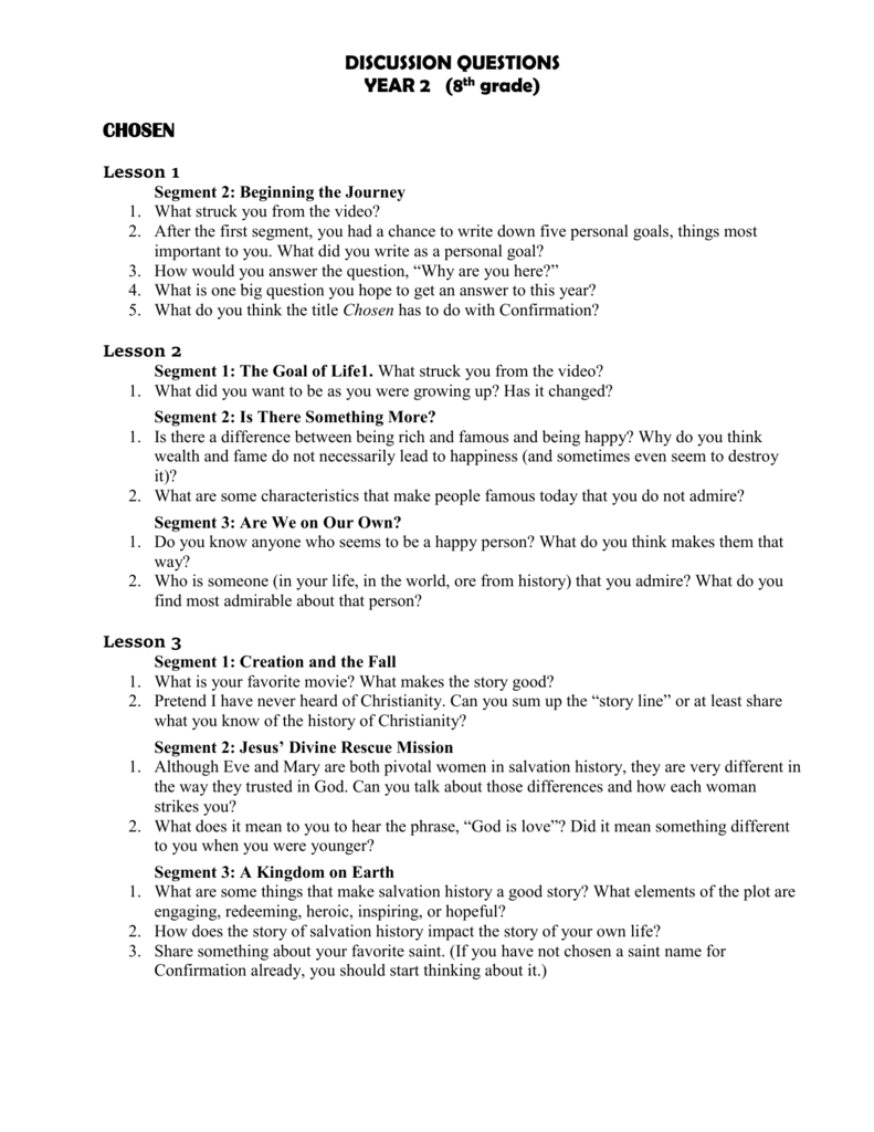 medium resolution of CHOSEN Discussion Questions for Year 2 (8th