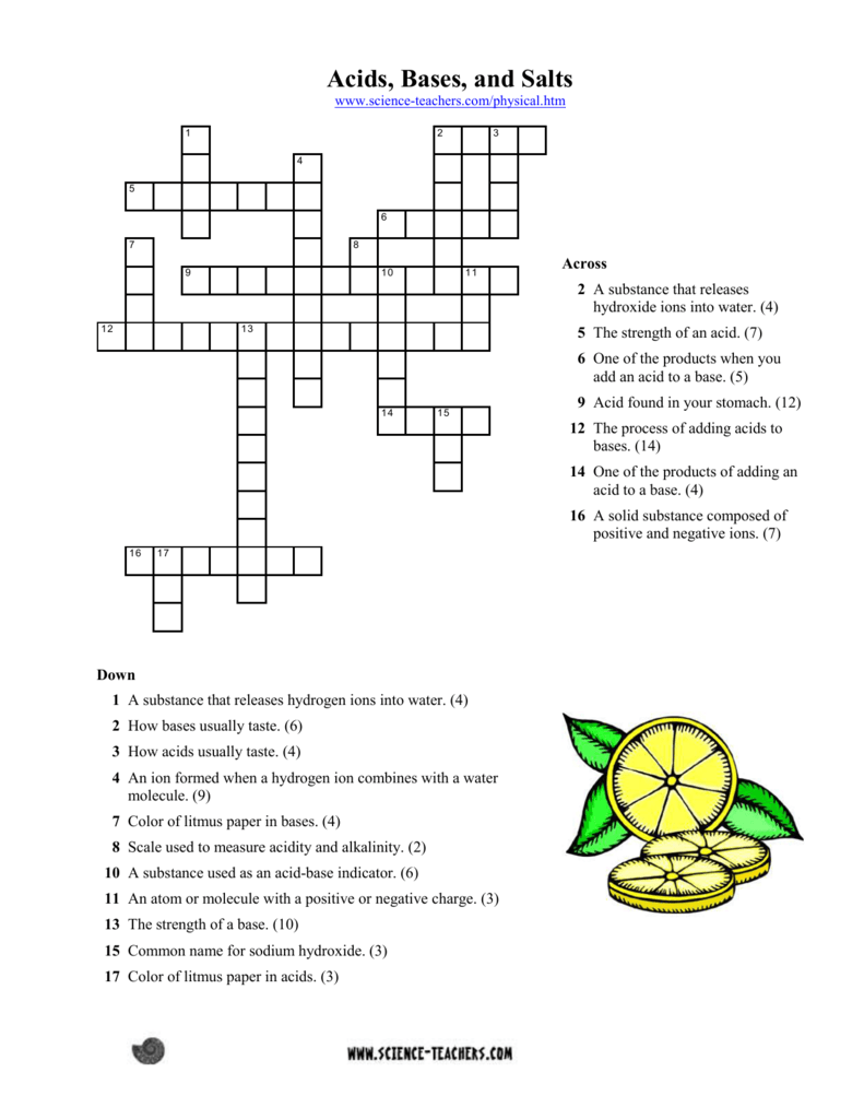 Acids Bases And Salts Worksheet Answers Crossword