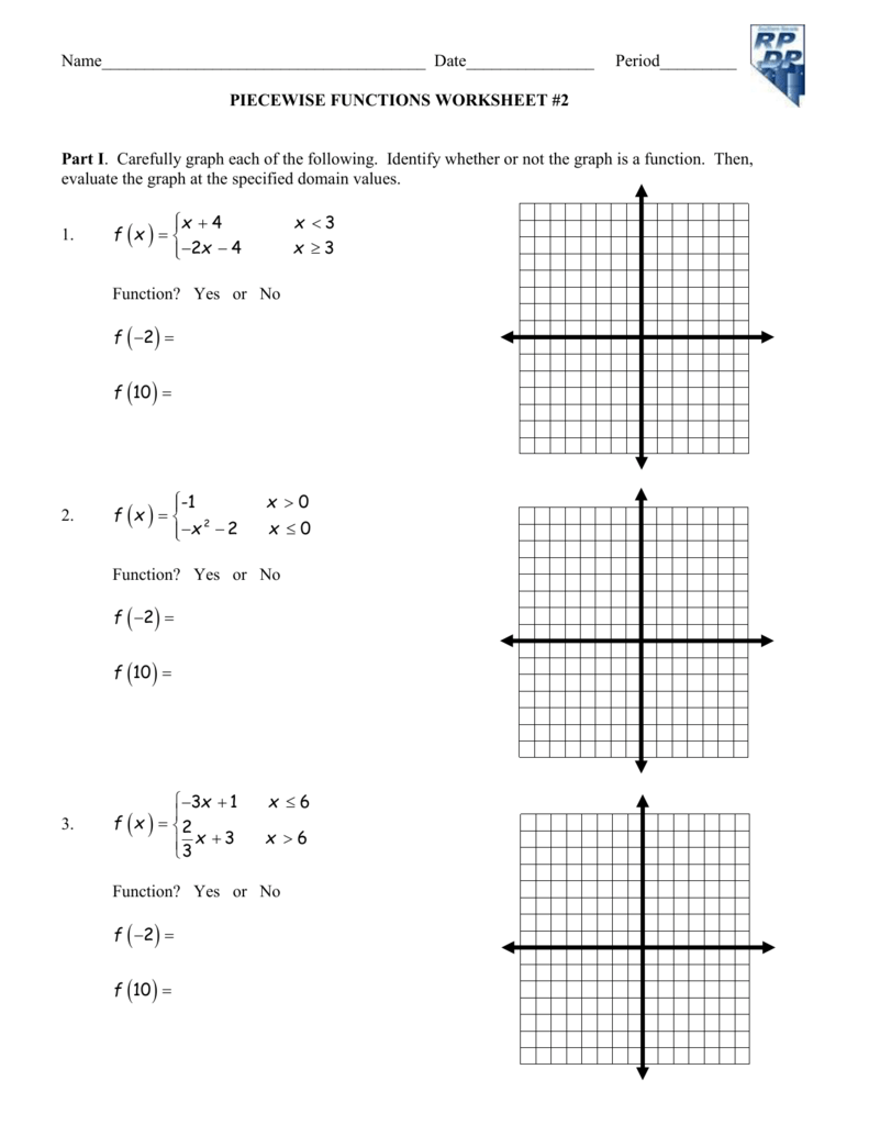 Piecewise Functions Practice Worksheet With Answers