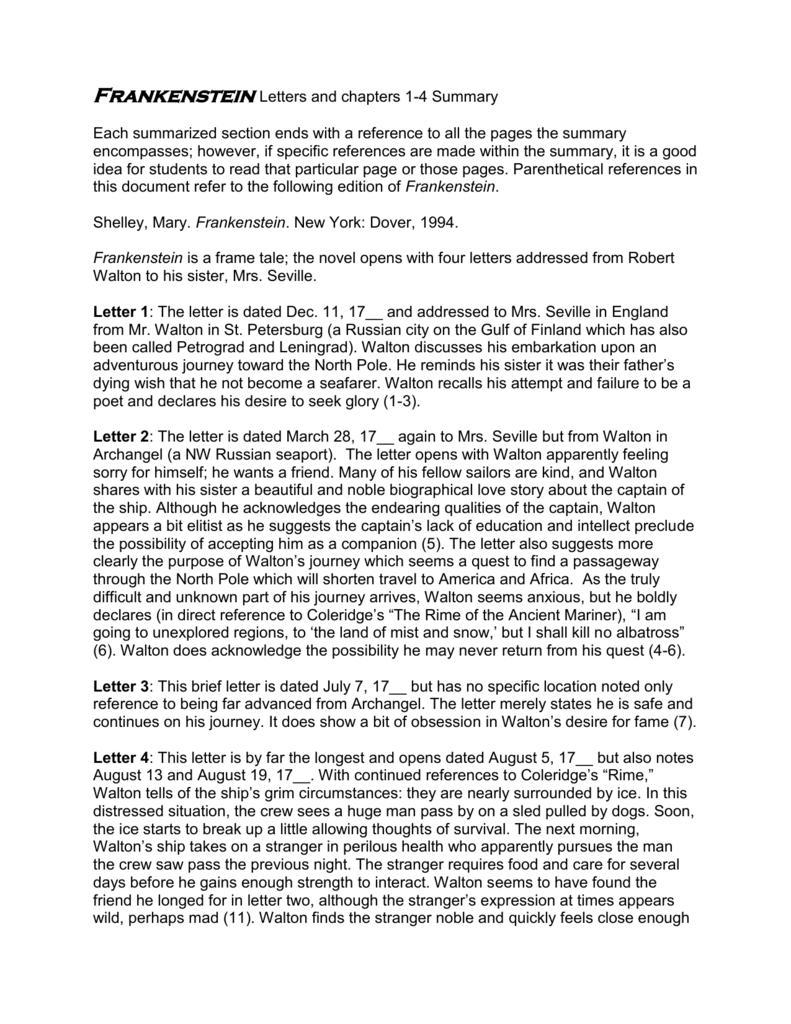 Frankenstein Summary  Bruin Blog