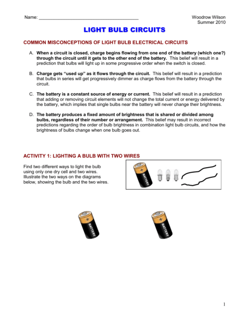 small resolution of woodrow wilson summer 2010 light bulb circuits common misconceptions of light bulb electrical circuits a when a circuit is closed charge begins flowing