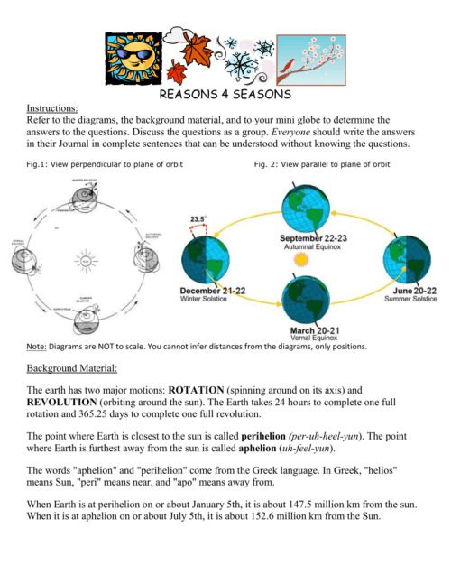 small resolution of reasons 4 seasons instructions refer to the diagrams the background material and to your mini globe to determine the answers to the questions