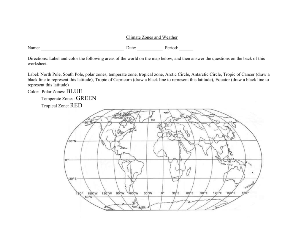 Worksheet Climate Zones