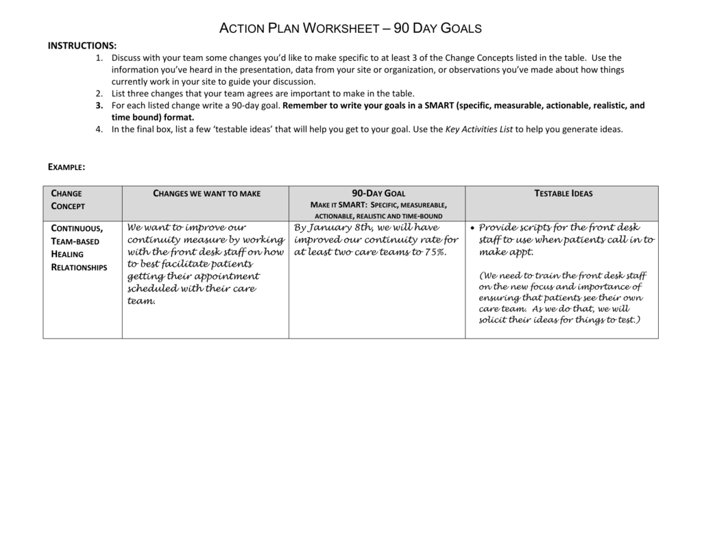 Action Plan Worksheet 90 Day Goals