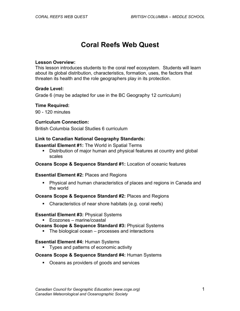 medium resolution of Coral Reefs Web Quest - Canadian Geographic Education