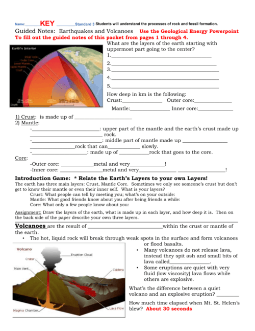 small resolution of Answer Key for earthquakes \u0026 volcanoes packet