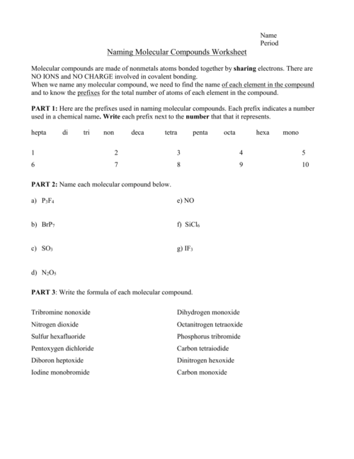 small resolution of Naming Molecular Compounds Worksheet