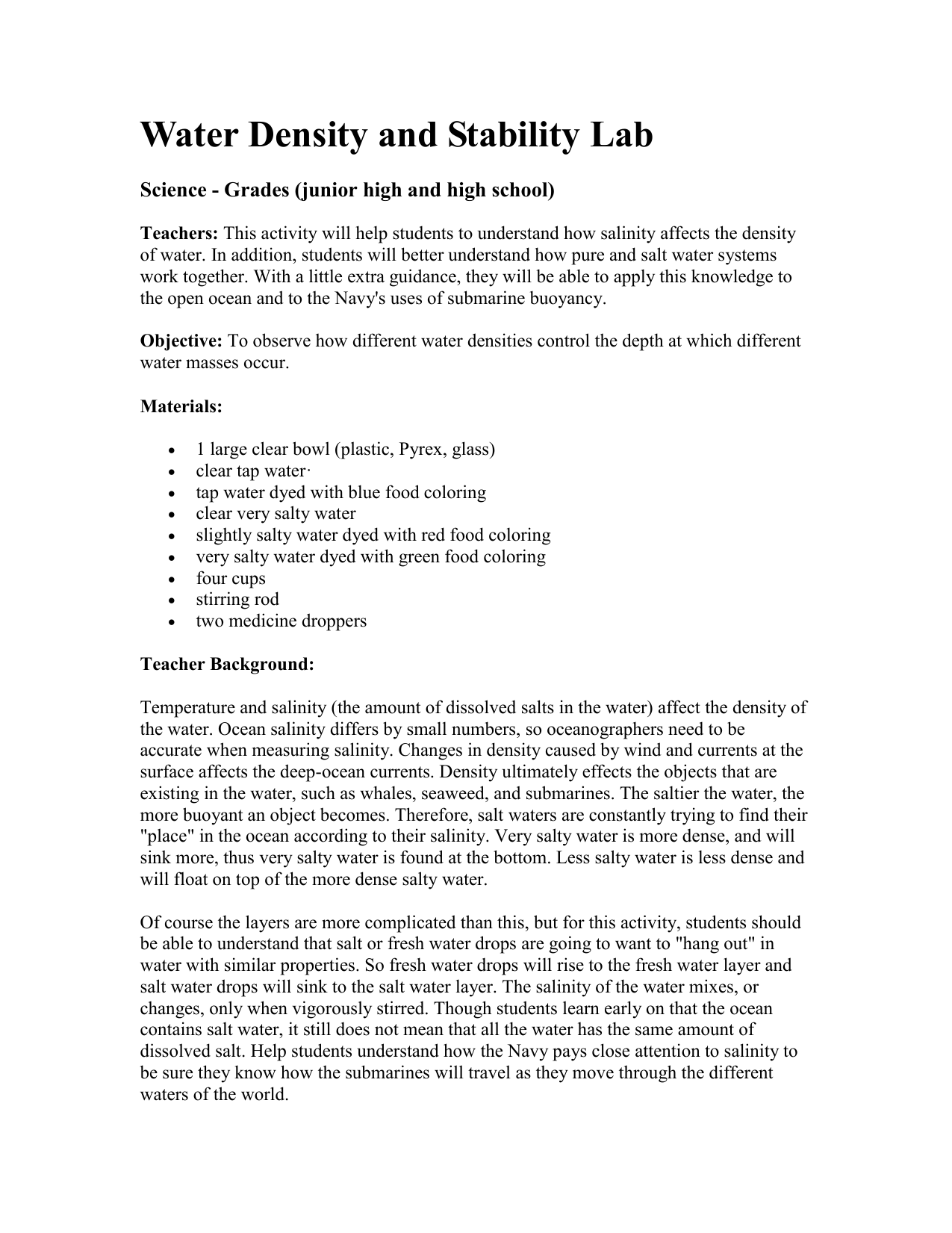 hight resolution of Density Column Lab Worksheet Answers   Printable Worksheets and Activities  for Teachers