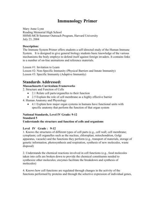 small resolution of Immune System Worksheet High School - Promotiontablecovers