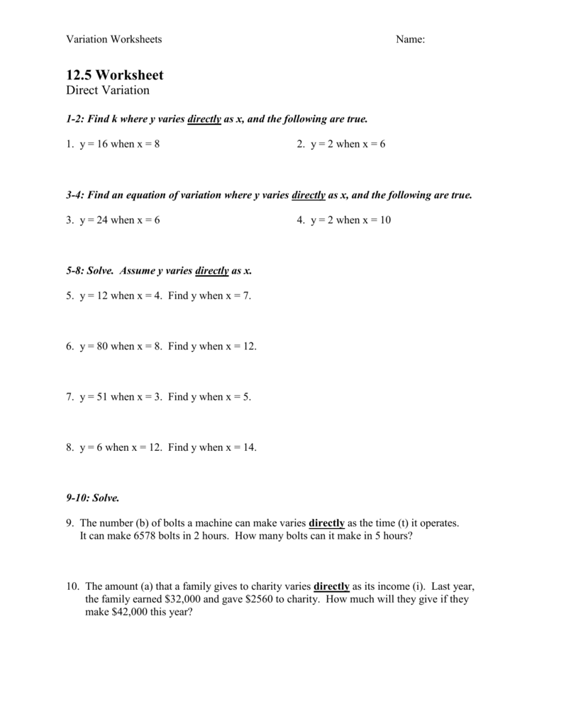 hight resolution of Direct And Inverse Variation Worksheet Answer Key - Nidecmege