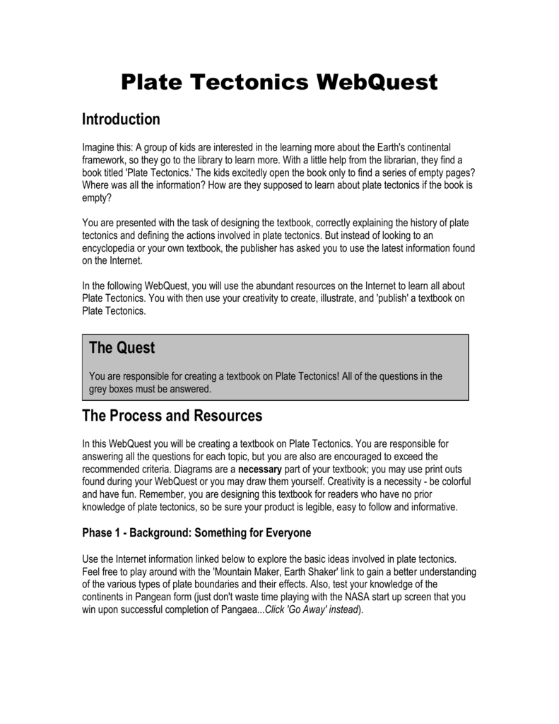 hight resolution of 6th Grade Plate Tectonics Webquest