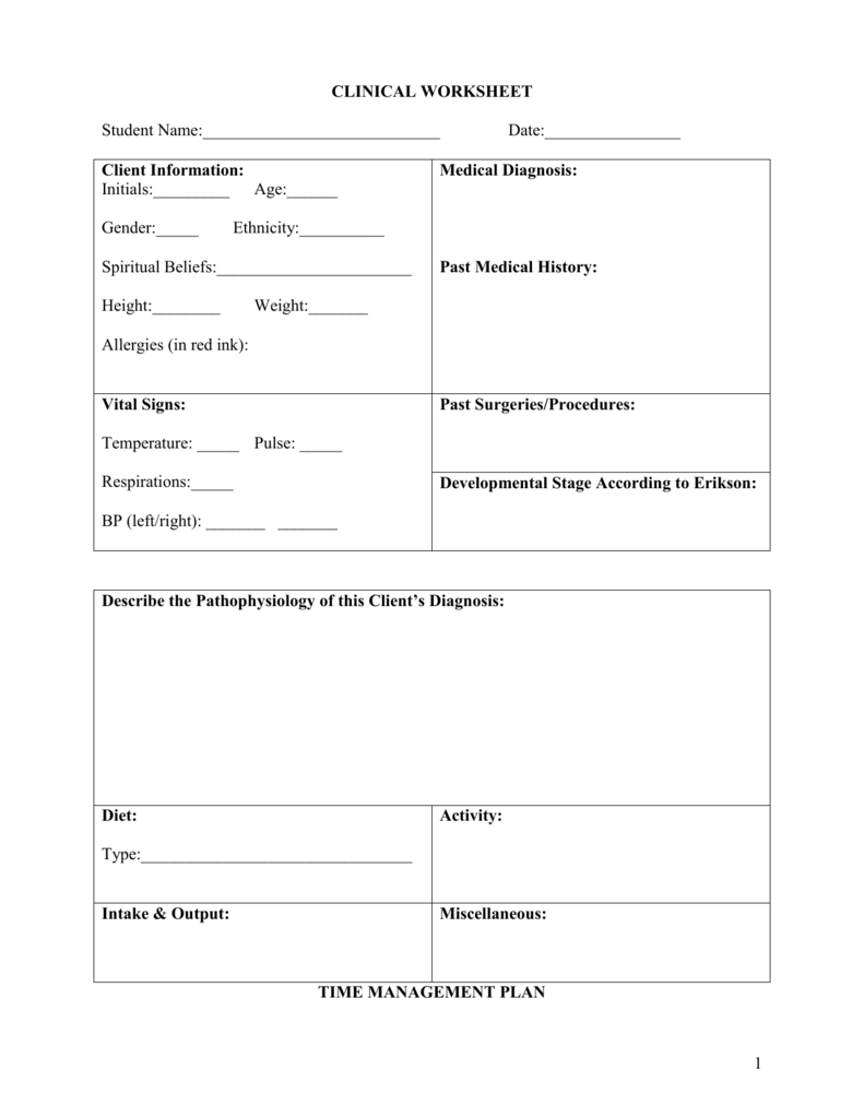 Clinical Worksheet Edited