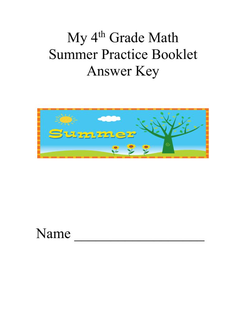 hight resolution of Fourth Grade Summer Packet Anser Key