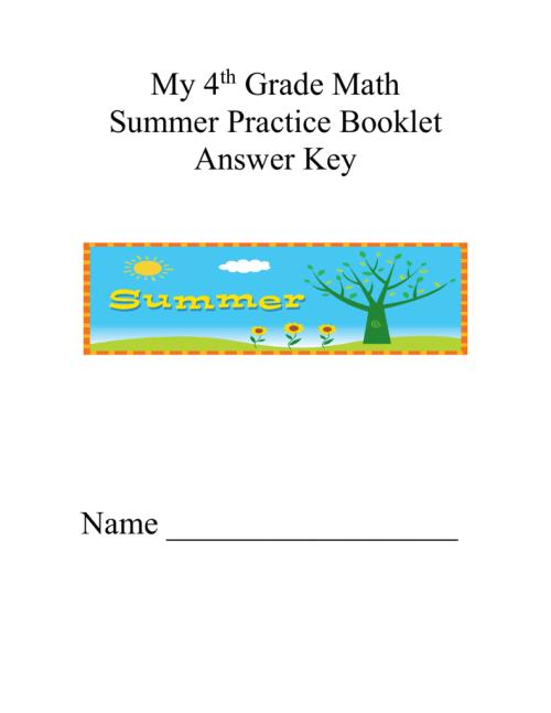 small resolution of Fourth Grade Summer Packet Anser Key