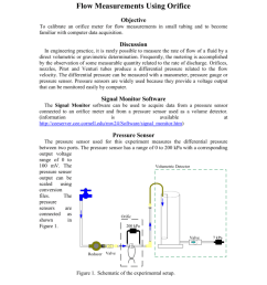 flow measurements using orifice objective to calibrate an orifice meter for flow measurements in small tubing and to become familiar with computer data  [ 791 x 1024 Pixel ]