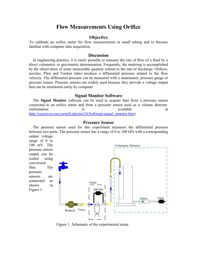hight resolution of flow measurements using orifice objective to calibrate an orifice meter for flow measurements in small tubing and to become familiar with computer data