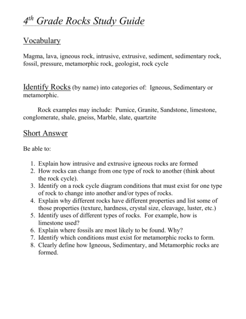 small resolution of 4th Grade Rocks \u0026 Minerals Study Guide