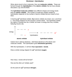 worksheet hybridization when atoms bond to form molecules they use molecular orbitals these are formed through the hybridization of the atomic orbitals  [ 791 x 1024 Pixel ]
