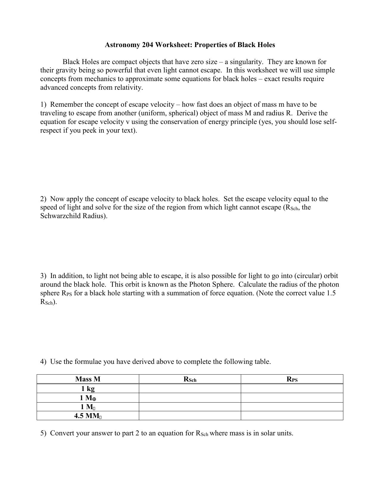 Black Hole Worksheet