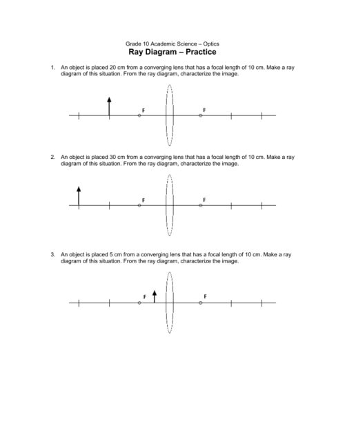 small resolution of grade 10 academic science optics ray diagram practice 1 an object is placed 20 cm from a converging lens that has a focal length of 10 cm