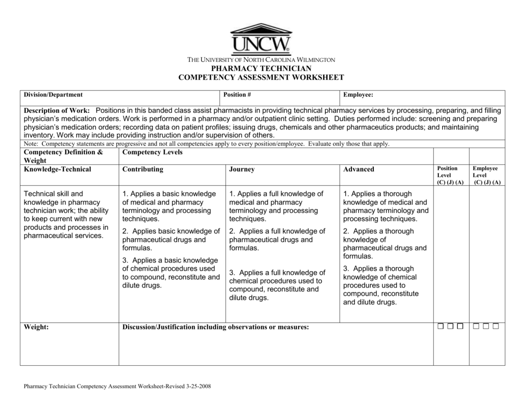 Pharmacy Technician Competency Assessment Worksheet