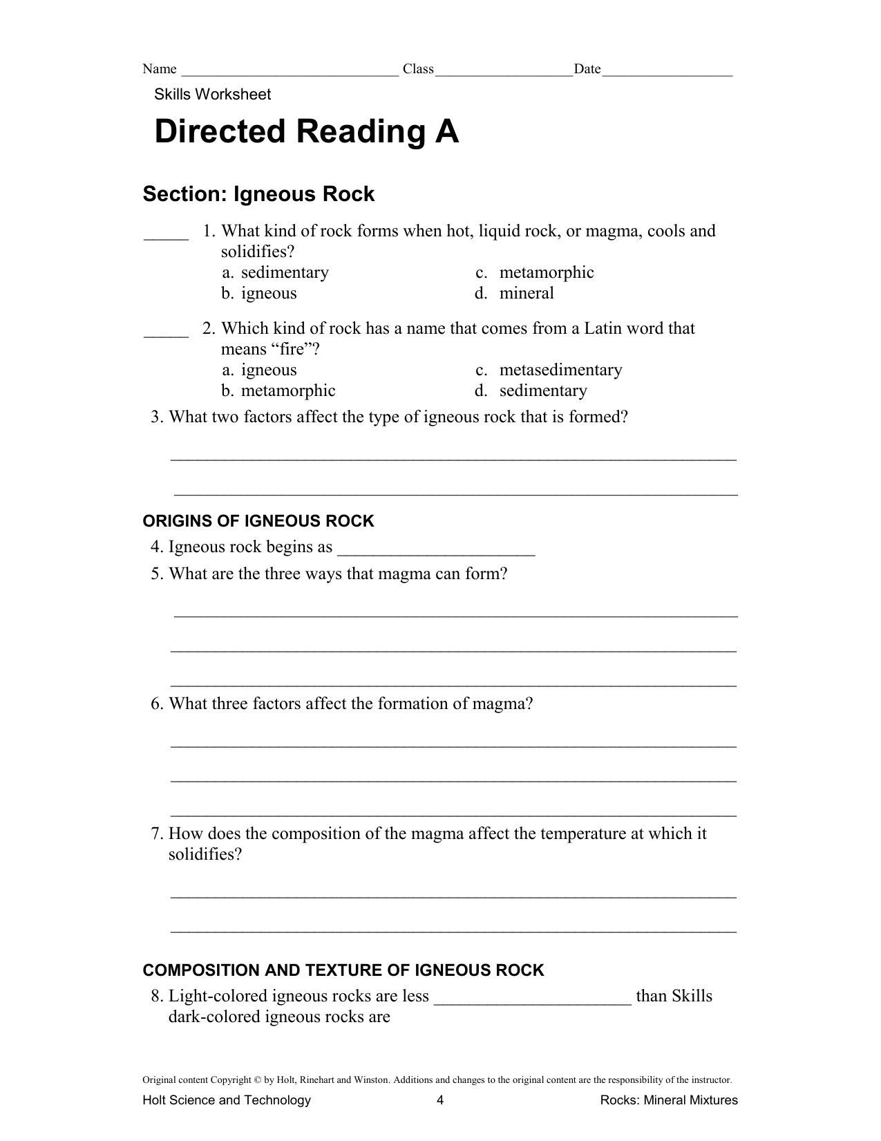 Holt Earth Science Directed Reading Answer Key