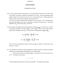 chapter 9 phase diagrams problem solutions 9 24 a we are given that the mass fractions of and liquid phases are both 0 5 for a 40 wt pb 60 wt mg  [ 791 x 1024 Pixel ]