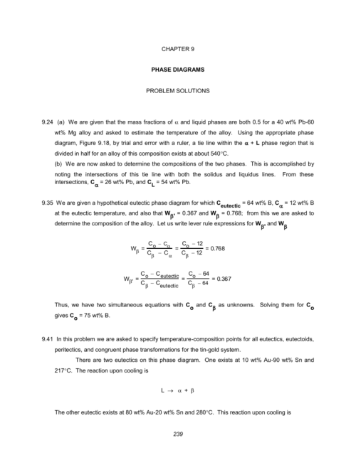 small resolution of chapter 9 phase diagrams problem solutions 9 24 a we are given that the mass fractions of and liquid phases are both 0 5 for a 40 wt pb 60 wt mg