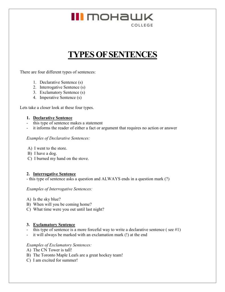 hight resolution of TYPES OF SENTENCES