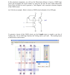 layout of a cmos logic circuit in this practicum assignment you will use the microwind software to layout a cmos logic circuit and investigate this layout  [ 791 x 1024 Pixel ]